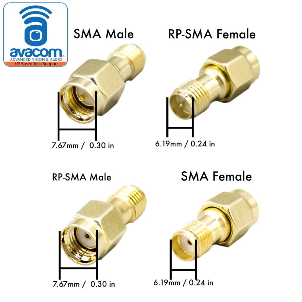 Adapter 2PK SMA Male Plug Pin to RP-SMA Female Coupling RF Connector Pin
