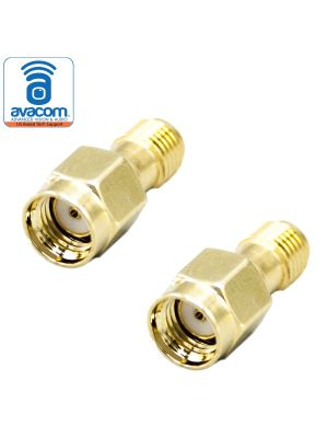 SMA Female Connector to  RP-SMA Male | 2 Pieces of Gold Plated Coaxial Coupling Nut Connectors